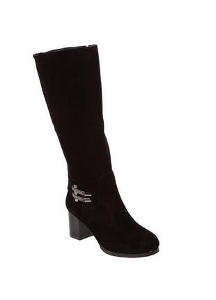 912цп женские сапоги foletti,замшевые,на каблуке,из круглым носком,на толстом каблуке