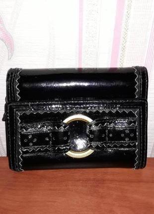 Шикарный черный кожаный кошелек ted baker