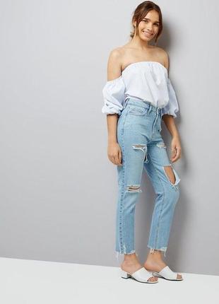 Шикарные джинсы мом бойфренд бойки момы с высокой талией посадкой new look tori