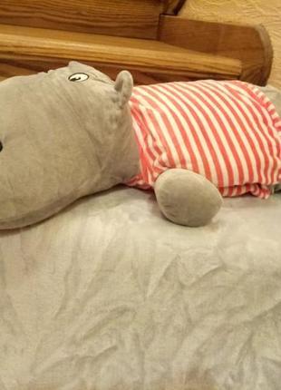 Детский набор подушка и плед бегемот.игрушка бегемот
