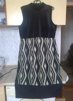 Брендовое шикарное нарядное платье, черное с золотом, бархат велюр, на подкладке