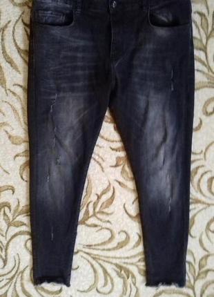 Стилтные мужские джинсы с необработаными краями зара мен
