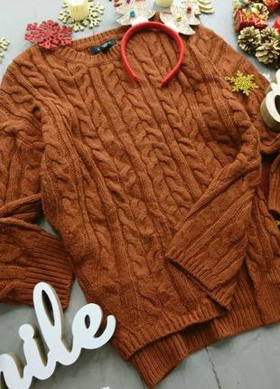 Актуальный свитер оверсайз с косами №141