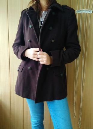 Коричневое женское пальто кашемир на осень