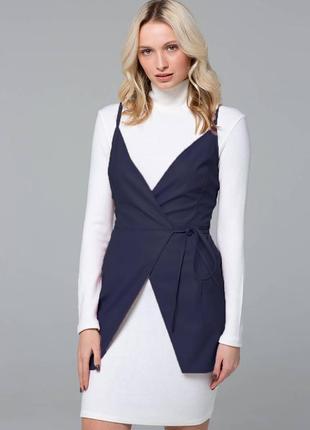 Двойка (платье-гольф+кожаный сарафан)  темно-синий  размер s m l