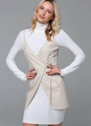 Двойка (платье-гольф+кожаный сарафан)   размер молочный s m l