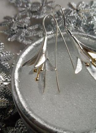 Серебро 925, серьги-протяжки лотос
