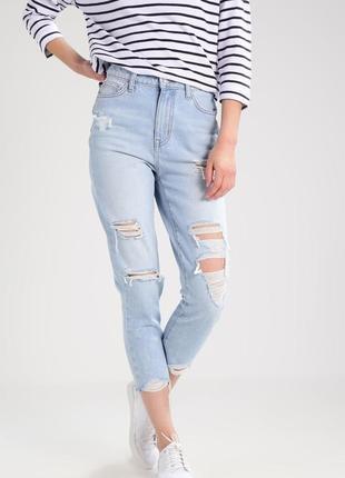 Стильные джинсы мом с высокой талией посадкой new look