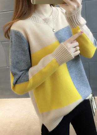 Новый стильный женский свитер мультиколор1
