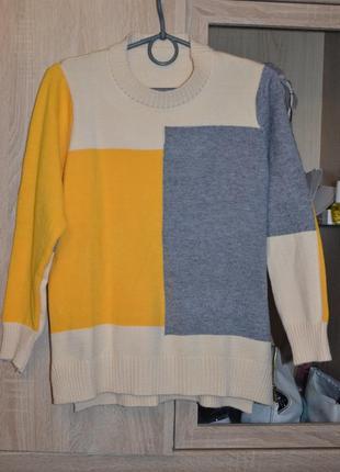 Новый стильный женский свитер мультиколор2