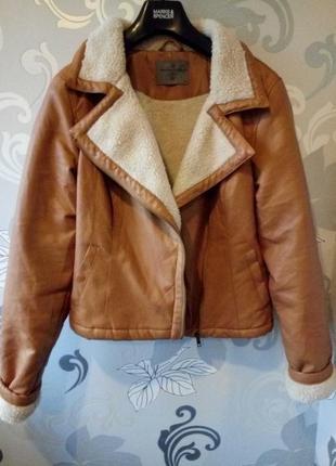 Теплая рыжая косуха куртка на меху дубленка vero moda