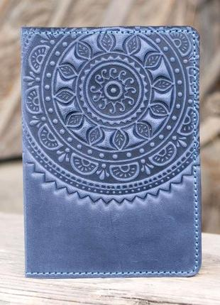 Обложка для паспорта кожаная светло-синяя с тиснением этно