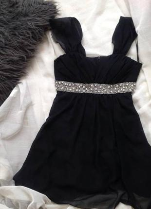 Платье шифоновое с жемчугом и бисером/вечернее платье с камнями /выпускное /нарядное