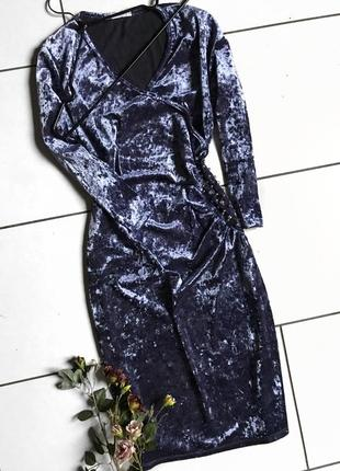 Розовое, фиолетовое бархатное велюровое вечернее платье с запахом на новый год