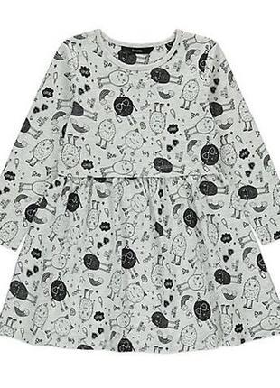 Легкое платье трикотажное с рукавами хэллоуин, оригинал george 4-5, 5-6 лет