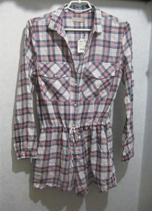 Комбинезон платье рубашка zara в клетку белый розовый разноцветный коттон хлопок