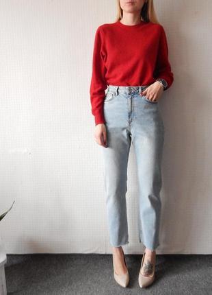 Высокие голубые джинсы мом / mom с необработанным краем denim&co