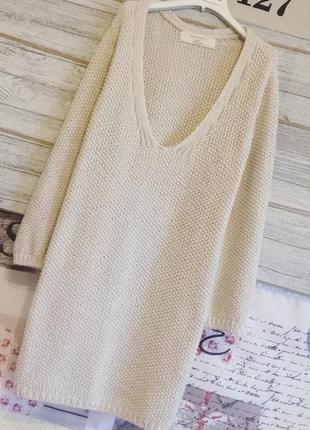 Вязанный свитер пудровый удлиненный свитер zara.