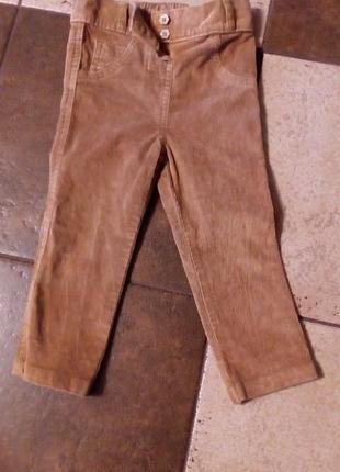 Штанишки, штаны, брюки, брючки вельветовые на 1-1,5 года