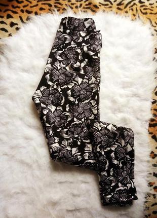Плотные леггинсы в цветочный принт черные белые лосины высокая талия посадка