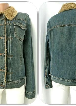 """Стильная брендовая джинсовая куртка """"gap"""" на меху. размер l.2 фото"""