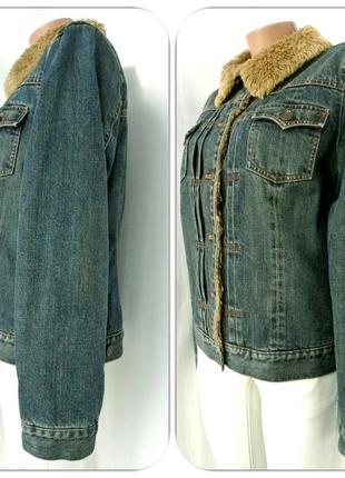 """Стильная брендовая джинсовая куртка """"gap"""" на меху. размер l.3 фото"""