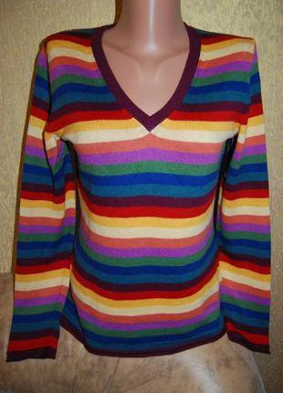 Стильный мягкий свитер джемпер в полоску