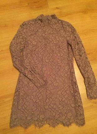 Супермодное кружевное новогоднее бежевое платье h&m