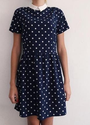 Платье сарафан в горох, с воротничком, юбка солнце
