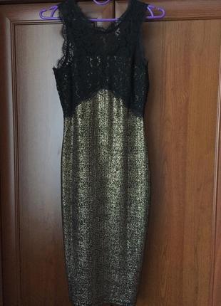 Шикарне плаття міді -футляр гіпюр/напиленіє під золото,фірми new look,розмір хс-с