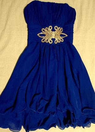 Красивое синее платье с корсетом