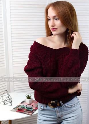 🌸скидки🌸 объемный свитер бордовый марсала с открытыми плечами свободный шерстяной