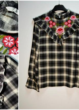 Трендовая рубашка,блуза в клетку с вышивкой цветы