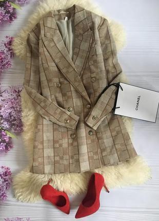 Платье пиджак блейзер в клетку твидовое