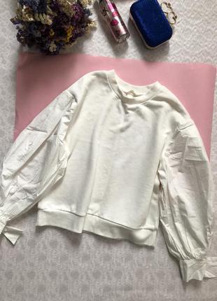 H&m белый свитшот с пышными рукавами s-m размер
