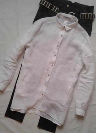 Белоснежная льняная рубашка-туника с карманами artigiano