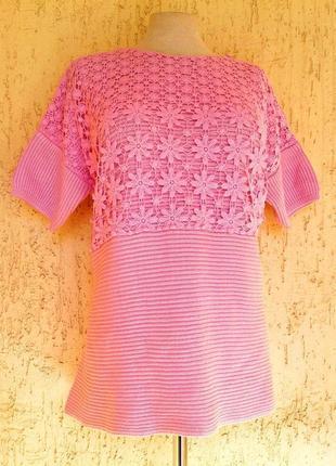 Хлопковая розовая блузочка-футболка, 3xl-5xl.