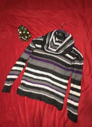 Шикарный тёплый свитер 30% мохер р.s-m