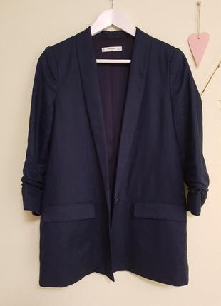 Темно-синий льняной пиджак mango, размер м
