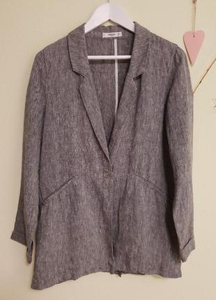 Серый льняной пиджак mango, размер м