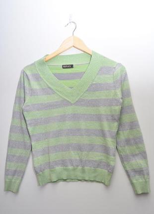 Двухцветный полосатый свитер с блестками
