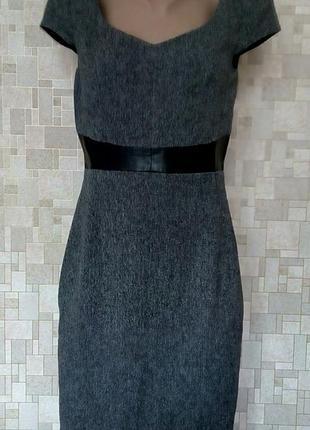 Стильный твидовый сарафан с кожаным поясом h&м.