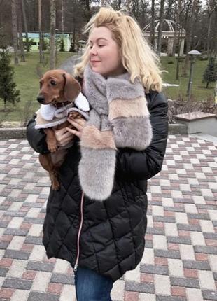 Модный меховый шарф из искусственного меха пудровый шарф актуальный