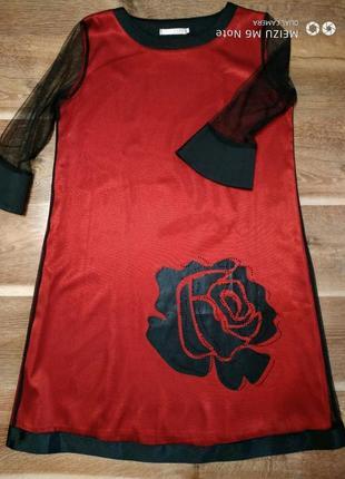 Красное нарядное платье с сеткой,фатином,вуалью размеры 48-54