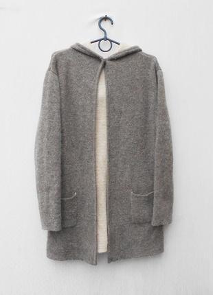 Осенний теплый вязаный 30%  ангора  кардиган пальто с капюшоном с длинным рукавом