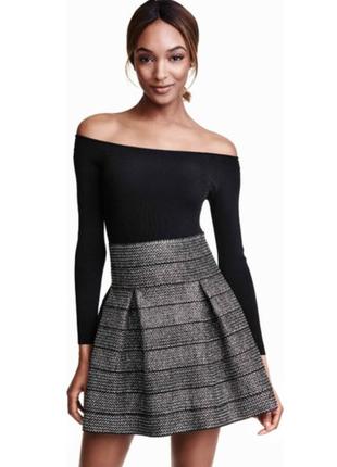 Трендовая расклешенная юбка с люрексом и высокой посадкой xs-s