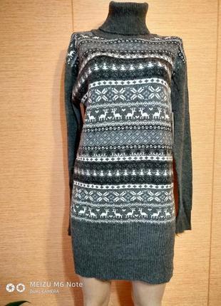 Теплое платье туника с орнаментом большого размера,48-56