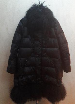 Пальто пуховое moncler  с натуральным мехом