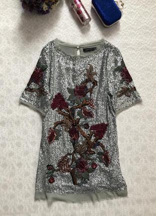 Zara нарядное платье в пайетках серебристое м - размер. шикарное