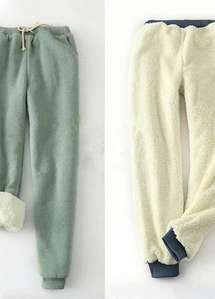 Теплые зимние штаны, с мехом